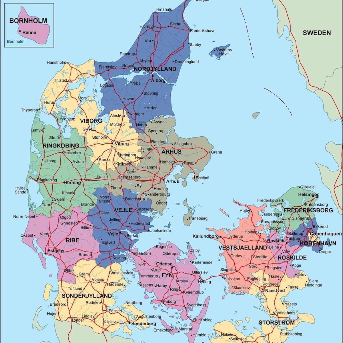 Cartina Della Danimarca.Danimarca Mappa Politica Mappa Della Danimarca Politico
