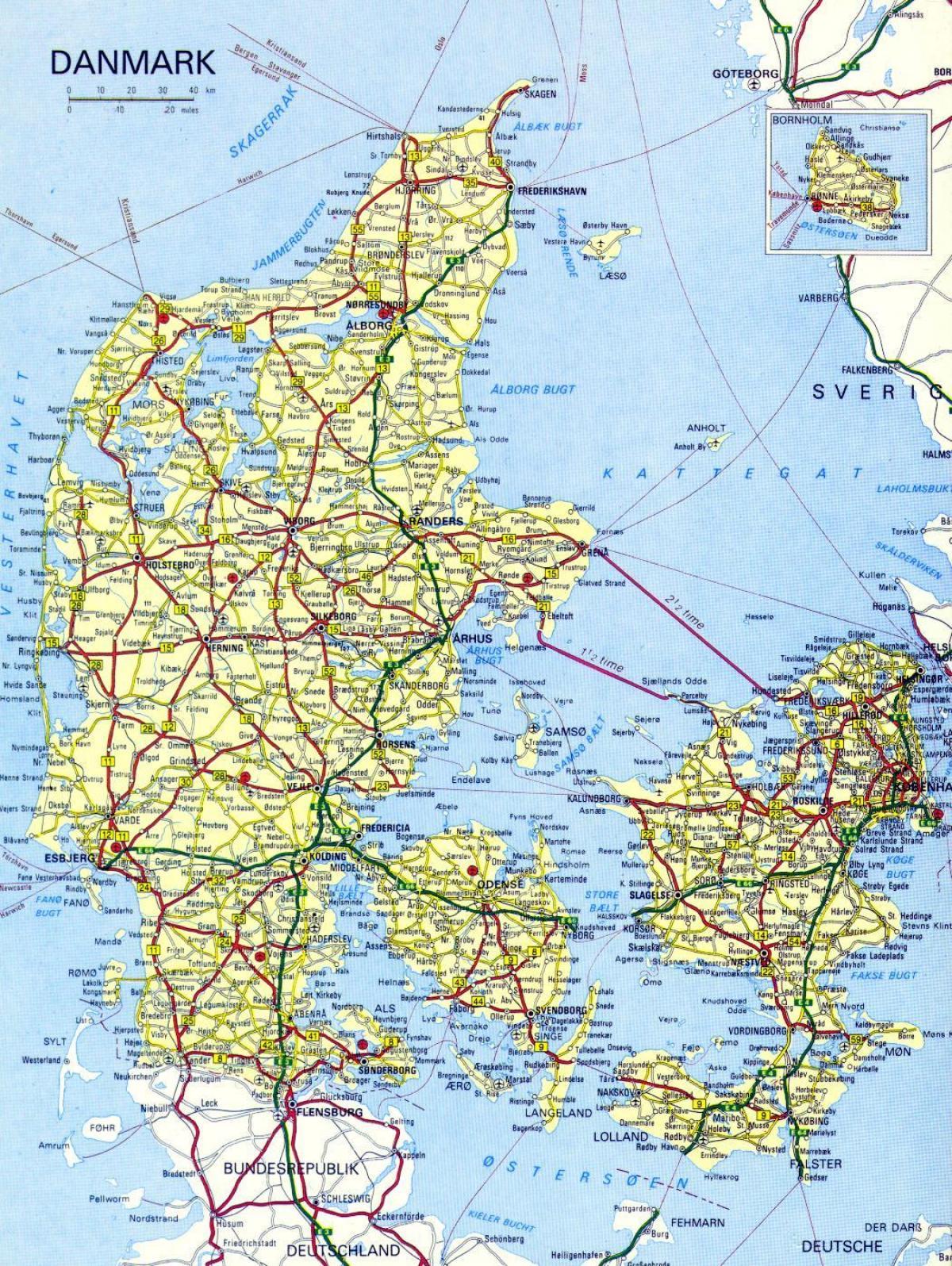 Cartina Stradale D Europa.Mappa Stradale Di Danimarca Mappa Stradale Danimarca